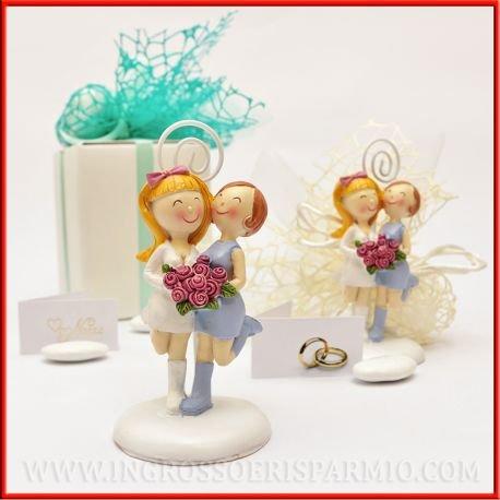 Statuina portafoto spose in resina coppia gay per unioni civili tra donne completa di asticina a spirale memoclip - bomboniera matrimonio, unioni civili,segnaposto (kit 12 pz + confezione)