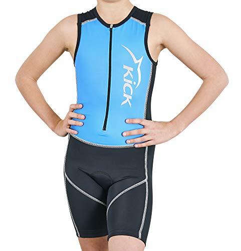 Dolphin Kick Kids Front Zip Triathlon Racing Suit mehrfarbig blau / schwarz 140
