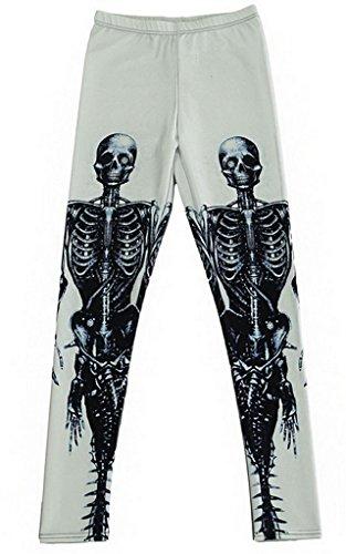 Bigood Femme Leggings Sexy Collant Elastique de Moulante Slimmer Squelette
