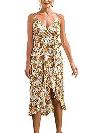 7240cffcf942 Donna Irregolare Vestiti con Bandage Moda Scollo V Pin Up Stampa Vestito da  Spiaggia Vacanza Sexy Senza Schienale Midi Abito da Partito Cocktail…