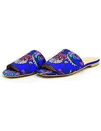 KUKI Sandalias planas de la flor de las mujeres frescas de la manera zapatos nacionales del viento , 2 , US8 /...