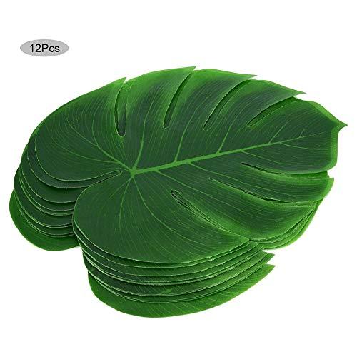 12 Stücke künstliche Pflanze Blatt grün Monstera Dschungel Thema Grill Geburtstag Hochzeit Tischdekoration MEHRWEG VERPACKUNG