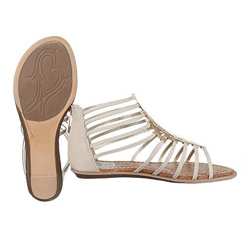 Ital-Design Riemchensandalen Damenschuhe Knöchelriemchen Riemchen Reißverschluss Sandalen/Sandaletten Beige