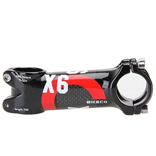 Bikeco - Attacco per manubrio bici in carbonio, 3K, lucido, super leggero, in fibra di carbonio e lega di alluminio, per mountain bike e bici da strada, con 6gradi, per manubrio φ 31,8x 80/90/100/110mm, Red