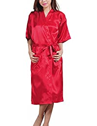 ECHERY Suave Larga Satén Albornoz Kimono Batas Camisón Robe Ropa de Dormir Pijamas para Mujer