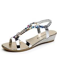 Sandalias mujer, Manadlian Moda Sandalias casuales Sandalias planas de mujer de verano Zapatos de playa (CN 37, Silver)