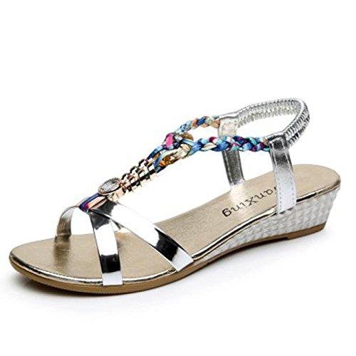 Sandalias mujer, Manadlian Moda Sandalias casuales Sandalias planas de mujer de verano Zapatos de playa (CN 39, Silver)