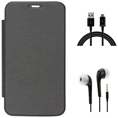 Tidel Black Durable Premium Flip Cover Case for Micromax Canvas Juice A77/A177 With 3.5mm Jack Handsfree Earphone & Data Cable