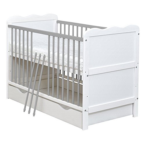 White and grey Wooden Full Size 140x70cm Baby Cot Bed with Drawer