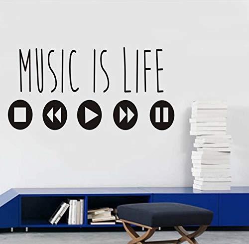 Xlei adesivi murali vinile stickers murali musica is life music quotes wall sticker moda art stickers musica equalizzatore adesivo da parete home decor mural86x43cm