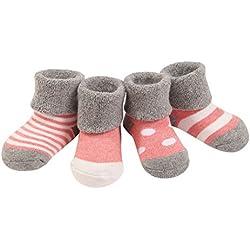 4 Pares Bebé Calcetines Algodón 12-36 Meses Cómodo Grueso Calcetin Niños Niñas Largo Invierno Caliente Rosa