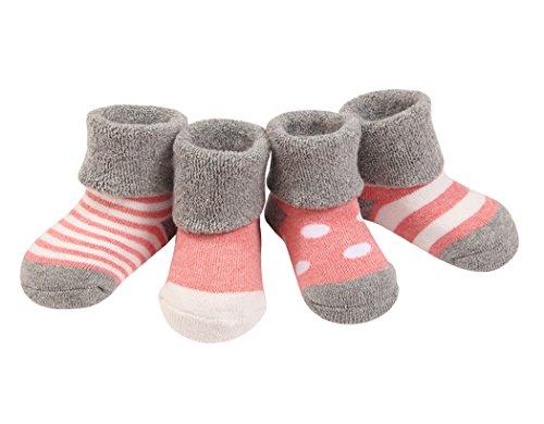 4 Paar Baby Mädchen Socken Lieblich Herbst Winter Weich Baumwolle Bunt 12-36 Monate - Rosa (Kinder Socken Winter)