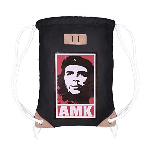 AMK Originals Turnbeutel Gym Bag Sack Rucksack Sportbeutel Tasche Canvas Hipster Unisex Damen Herren, Farbe:Che Guevara AMK (Barcelona Gym Sack)