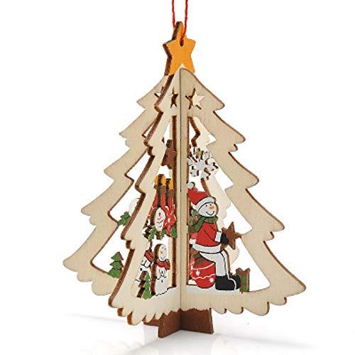 Snner Weihnachtliches Dekor geschnitztes Holz Xmas Baumfenster hängend Pendant Ornament Gift