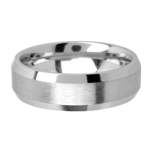 Inox Jewelry Silver Cobalt Chrome in Matte and Polish Finish Ring for Men