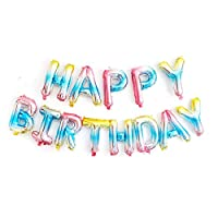 Rainbow Happy Birthday Balloons, Happy Birthday Banner Foil Letter Balloons for Birthday Decorations and Party Supplies