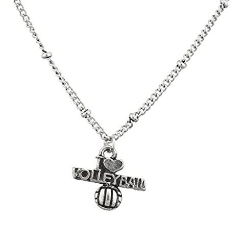 Lux Accessoires Burnish Argent I Love volleyball Sports Charm pendentif Collier