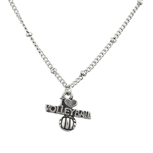 Lux Accessories Burnish Silver I Love Volleyball Sports Charm Pendant Necklace