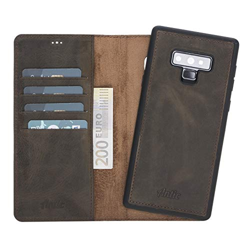 Antic Case 2in1 Leder Wallet für Galaxy Note 9 magnetisch, abnehmbar mit RFID-Blocker und Kartenfächer, Lederhülle braun - Wallet 3 Leather Galaxy Case Note