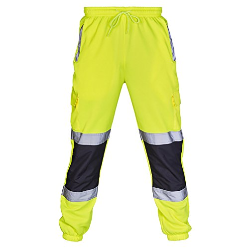 Price comparison product image Hi Vis Viz Joggers Slim Fit Trousers High Visibility Safety Workwear 2 Reflective Tape Stripe Band Two Tone Jogging Bottoms Safety Security Thick Brush Fleece Sweat Jog Combat Tracksuit Pants