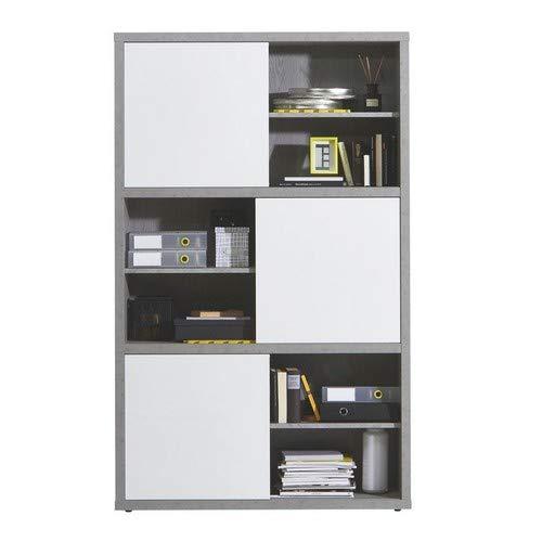 Composad Libreria a dodici vani con Ante scorrevoli Color Cemento e Bianco  Laccato Lucido, 12