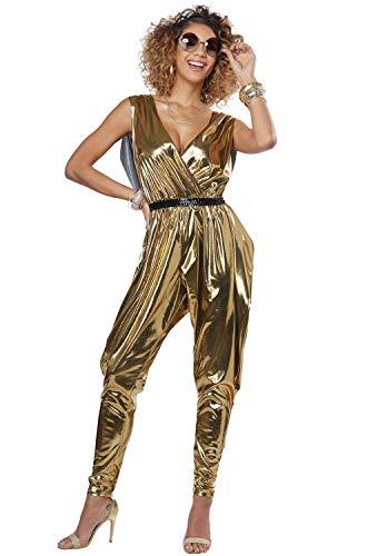 Jumpsuit Gold Kostüm - LADIES 70'S GLITZ N GLAMOUR COSTUME - SMALL