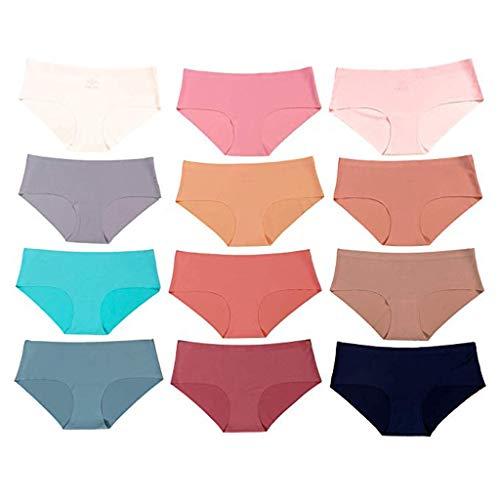 �sche, Damen-Cut-Unterwäsche 12er Pack Sexy Höschen Einfarbig Tanga Baumwolle Damen ()