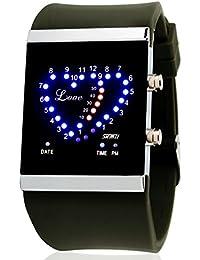 creativos LED impermeable reloj / jalea de los hombres del reloj en forma de corazón y las parejas de las señoras-verde