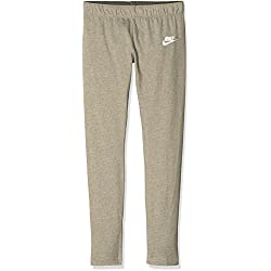 Nike G NSW TGHT Club Legging-Logo Mallas, Niñas, Gris dk Grey Heather/White, XS
