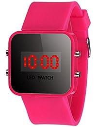 Sannysis® Pantalla LED Digital correa de silicona reloj del deporte Rosa Caliente