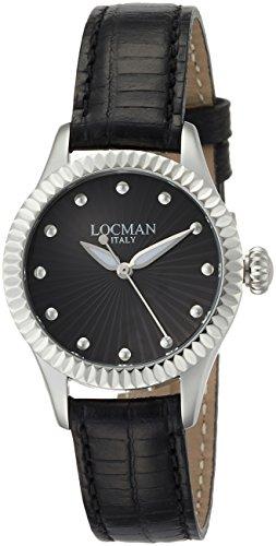 Locman Isola d'Elba / orologio donna / quadrante nero / cassa acciaio e titanio / cinturino pelle nera