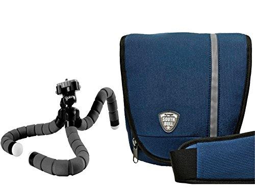 Foto Kamera Tasche SOUTHBULL COLT Cord blau Set mit Reise Stativ Rollei Monkey
