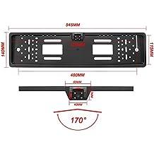 Yinuo, portatarga universale europeo per auto, con sensore di immagine CMOS 170° HD, telecamera posteriore, impermeabile, con visione notturna, 4LED, 10-14V, colore nero
