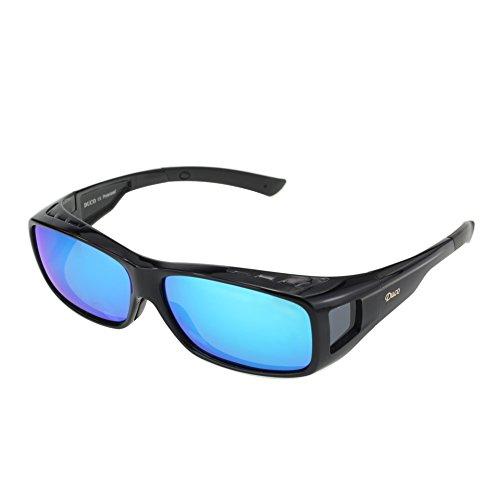 Duco Herren und Damen Sonnenbrillen Polarisiert Unisex Brille Überbrille für Brillenträger Fit-over Polbrille 8954 L-Schwarz, Revo Blau (Brille Männer Rezept)