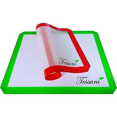 Tessani Tapetes (Pack de 2) Professional de Cocción de Silicona Antiadherente - Lámina de Silicona para Hornear - Alta Calidad, Aprobada por la FDA, Resistente a Temperaturas hasta 250 grados, Seguras para Utilizar en Microondas, Congelador y Lavavajillas - (1 x 33cm x 42cm, 1 x 28cm x