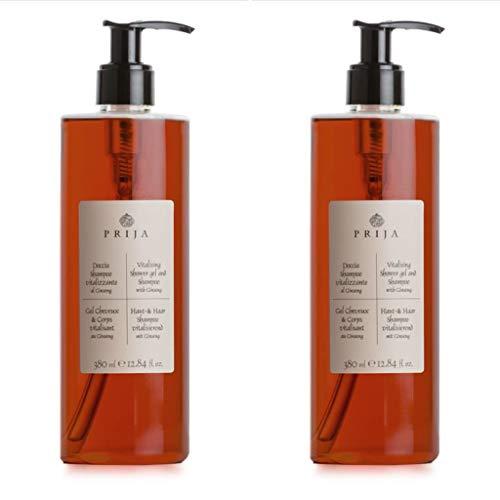 Prija Haut & Haarshampoo mit Ginseng 2x 380 ml Duschgel Hair & Body Flakon 2x Pumpspender