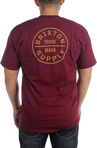Brixton - - T-shirt de serment pour hommes Burgundy