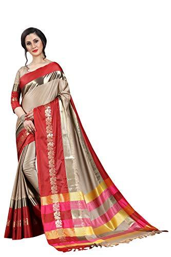 Fashionesta Women's Cotton Silk Saree (AURAGRYRED_Light Red_Free Size)