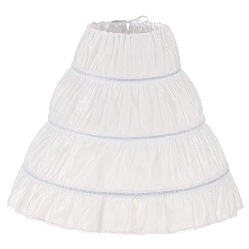 NUOMIQI Mädchen 3 Reifen Petticoat Full Slip Blumenmädchen Krinoline Rock Medium Weiß