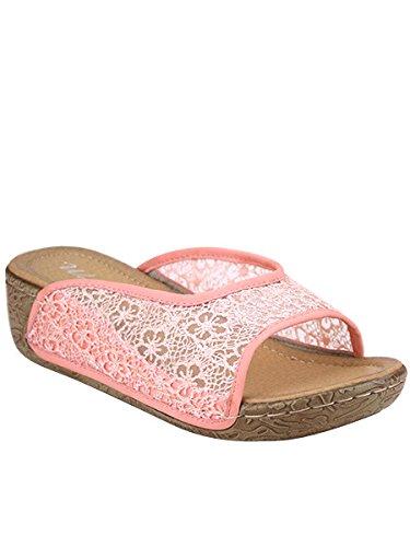 Cendriyon, Compensée Ultra Confort Dentelle MELISSA Chaussures Femme Rose