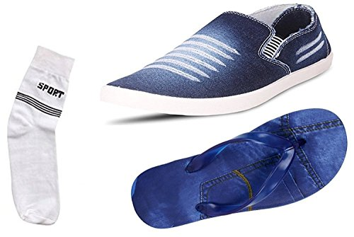 Maddy Men's Combo of 3 Shoes-1 Loafers,1 Sandals,1 Socks (8)
