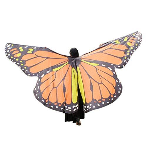 WOZOW Damen Kostümzubehör Zubehör Schmetterling Flügel Kostüm Nymphe Pixie Umhang Faschingkostüme Schals Poncho (Hell orange) (Teufel Kostüm Hörner Zubehör)
