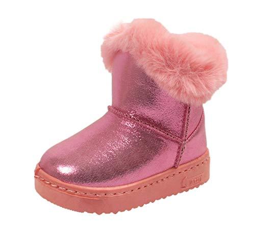 Stylozuk Kids Girls Infant Warm Winter Faux Fur Fleece Lined Glossy Ankle Snow Boots Size