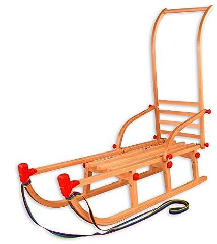 22-115-Stange Klappschlitten Davos mit Schubstange Rodelschlitten Holzschlitten 115 cm (Hörnerschlitten Mit Rückenlehne)
