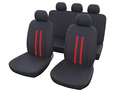 Upgrade4cars coprisedili universali per auto rosso nero | foderine sedili auto universali anteriori e posteriori | accessori automobile interni | set completo di 9