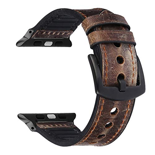 OverDose Boutique Klassisch Unisex Uhrenarmband PU Leder Band Lederarmbänder Sweatproof Silikon Replacement Straps Ersatz Armband Kompatibel für iWatch 2/3/4 38mm/40mm/42mm/44mm Metallic-woven Leder