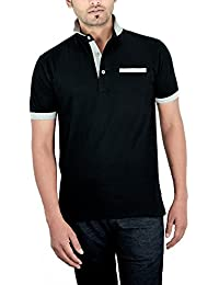 Komnil Men's Premium Black Stand Collar Polo Half Sleeve T-Shirt With Welt Pocket