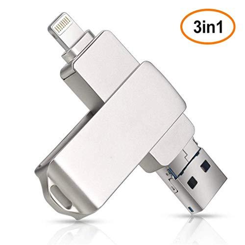 BWHTY USB 3.0 Lightning Flash-Laufwerk, Memory Stick fuuml;r iPhone Externer iPad-Speicher Kompatibel mit iPhone, iPod, Mac und Computern -