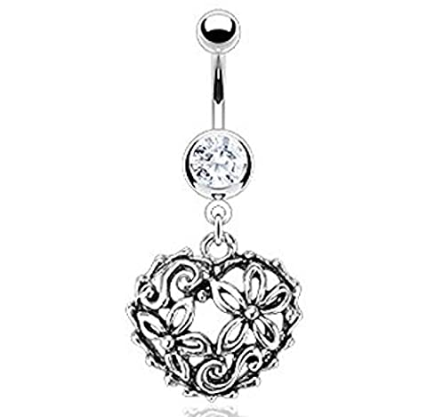 1 x Intricate Vintage Style Flower Garden Hollow Charm Clear Crystal Dangle Belly Bar Piercing Thickness 1.6mm Length Standard 10mm Surgical Steel