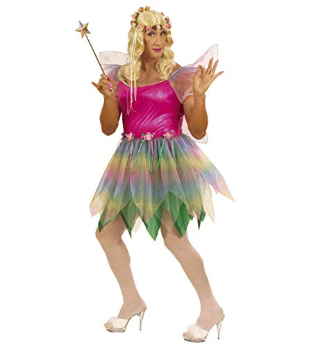 Party-Teufel Komplett Kostüm Regenbogen Fee für Männer mit Kleid Flügel Blonde Perücke Blumen-Haarkranz Zauberstab Drag Queen Gr. XL Junggesellenabschied